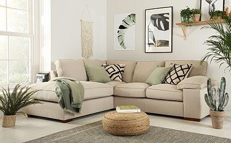 Cassie Linen Fabric L Shape Corner Sofa - LHF