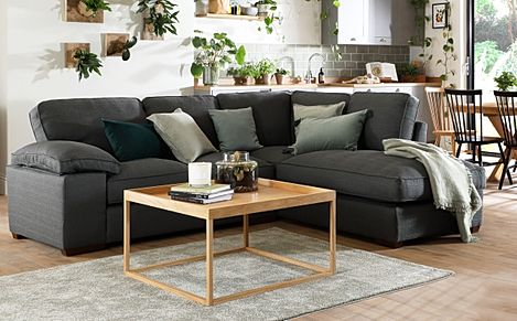 Cassie Charcoal Fabric L Shape Corner Sofa - RHF