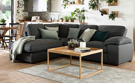 Cassie Charcoal Fabric L Shape Corner Sofa - LHF