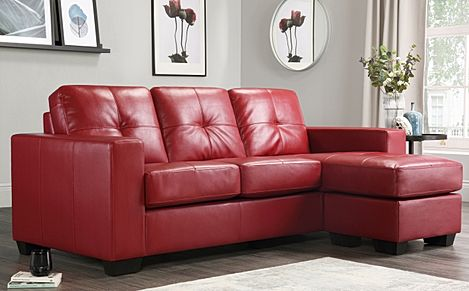 Rio Red Leather L Shape Corner Sofa