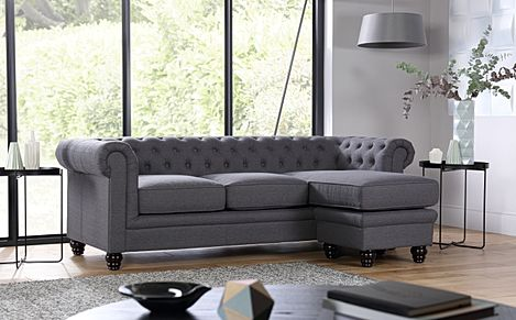 Hampton Slate Fabric Chesterfield Corner Sofa L Shape