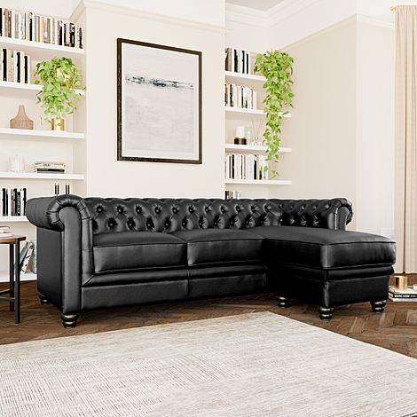 Hampton Chesterfield Black Leather Corner Sofa L Shape