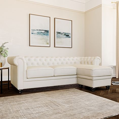 Hampton Ivory Leather L Shape Chesterfield Corner Sofa