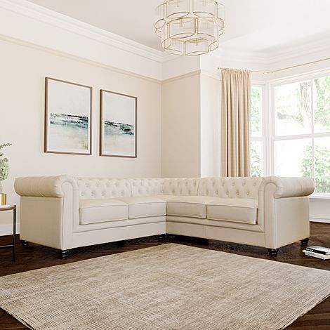 Hampton Ivory Leather Chesterfield Corner Sofa
