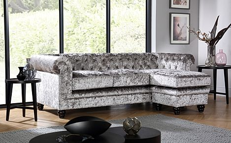 Hampton Silver Crushed Velvet L Shape Chesterfield Corner Sofa