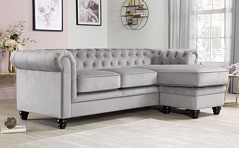 Hampton Grey Velvet Fabric Chesterfield Corner Sofa L Shape