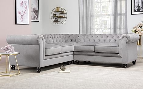 Hampton Grey Velvet Fabric Chesterfield Corner Sofa