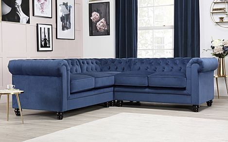 Hampton Blue Velvet Fabric Chesterfield Corner Sofa