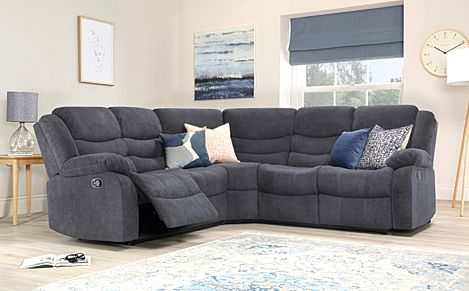 Sorrento Slate Grey Plush Fabric Recliner Corner Sofa