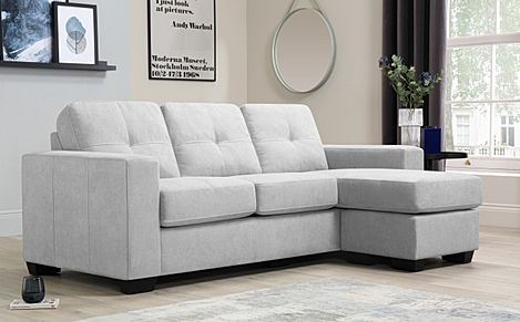 Rio Dove Grey Plush Fabric L Shape Corner Sofa