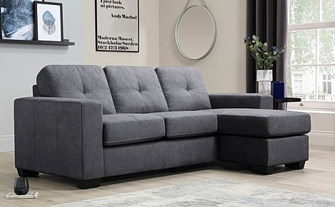 Rio Slate Grey Plush Fabric L Shape Corner Sofa