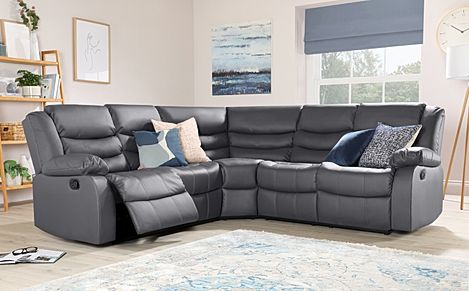 Sorrento Grey Leather Recliner Corner Sofa