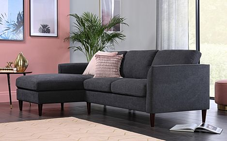 Hayward Slate Grey Plush Fabric L Shape Corner Sofa - LHF