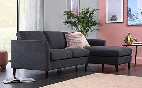 Hayward Slate Grey Plush Fabric L Shape Corner Sofa - RHF