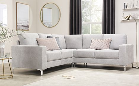 Baltimore Dove Grey Plush Fabric Corner Sofa