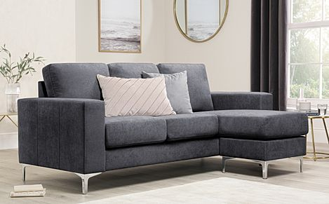 Baltimore Slate Grey Plush Fabric L Shape Corner Sofa