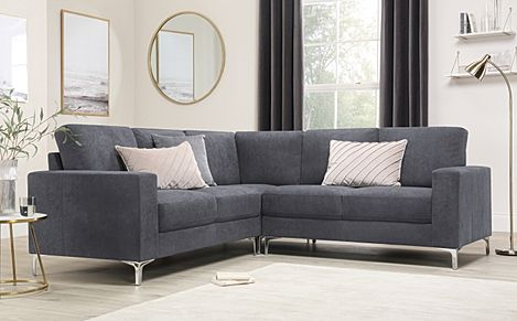 Baltimore Slate Grey Plush Fabric Corner Sofa