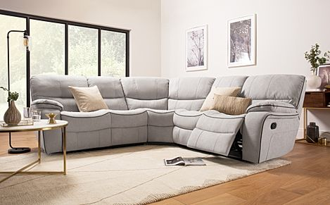 Beaumont Dove Grey Plush Fabric Recliner Corner Sofa