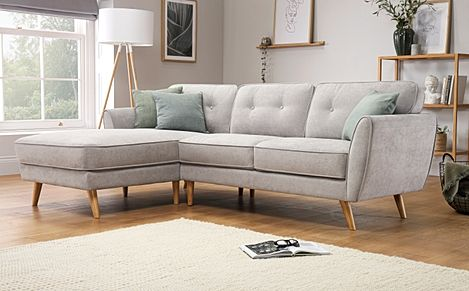 Harlow Dove Grey Plush Fabric L Shape Corner Sofa - LHF