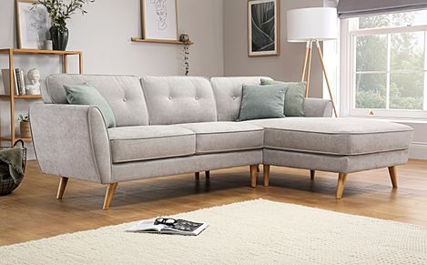 Harlow Dove Grey Plush Fabric L Shape Corner Sofa RHF