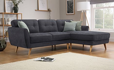 Harlow Slate Grey Plush Fabric L Shape Corner Sofa - RHF