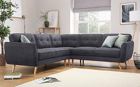 Harlow Slate Grey Plush Fabric Corner Sofa