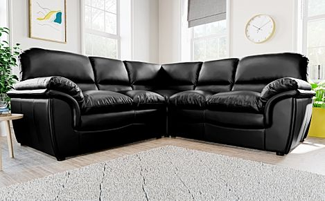 Rochester Black Leather Corner Sofa