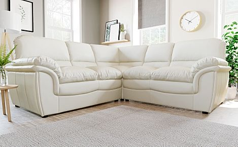 Rochester Ivory Leather Corner Sofa