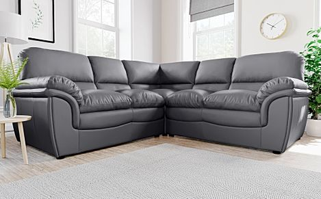 Rochester Grey Leather Corner Sofa