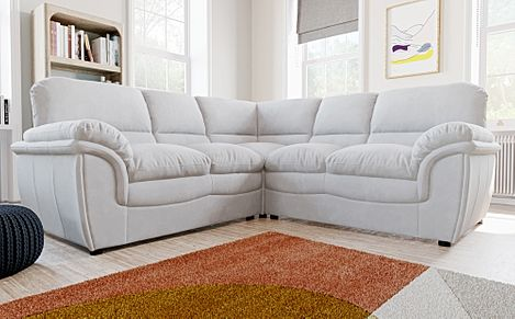 Rochester Dove Grey Plush Fabric Corner Sofa