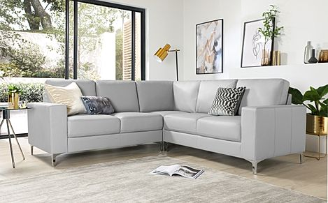 Baltimore Light Grey Leather Corner Sofa