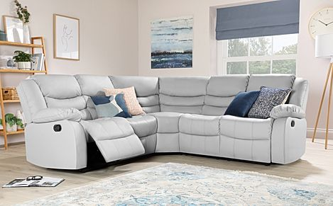 Sorrento Light Grey Leather Recliner Corner Sofa