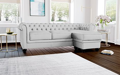 Hampton Light Grey Leather L Shape Chesterfield Corner Sofa