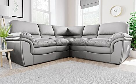 Rochester Light Grey Leather Corner Sofa