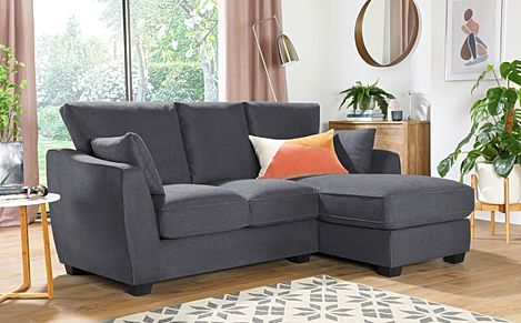 Claremont Slate Grey Plush Fabric L Shape Corner Sofa - RHF