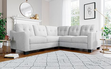 Belmont Dove Grey Plush Fabric Corner Sofa