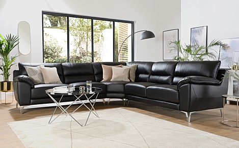 Madrid Black Leather Corner Sofa