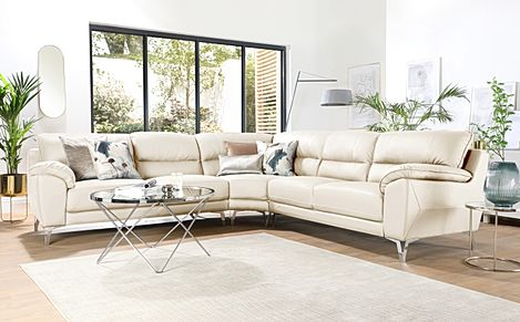 Madrid Ivory Leather Corner Sofa