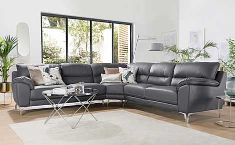 Madrid Grey Leather Corner Sofa