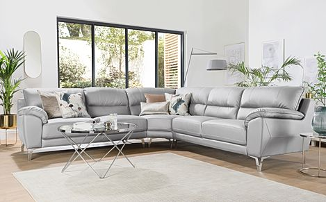 Madrid Light Grey Leather Corner Sofa