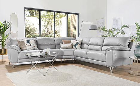 Madrid Ivory Leather Corner Sofa