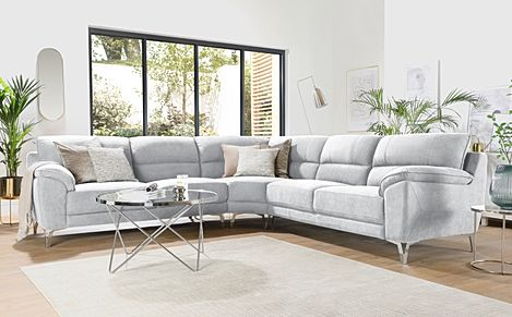 Madrid Dove Grey Plush Fabric Corner Sofa