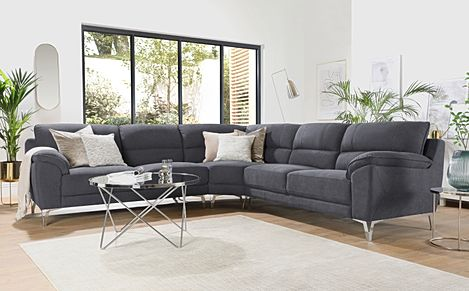 Madrid Slate Grey Plush Fabric Corner Sofa
