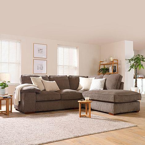 Cassie Mink Cord Fabric L Shape Corner Sofa - RHF