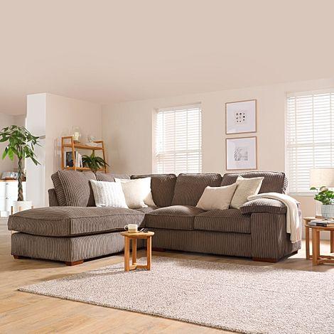 Cassie Mink Cord Fabric L Shape Corner Sofa - LHF