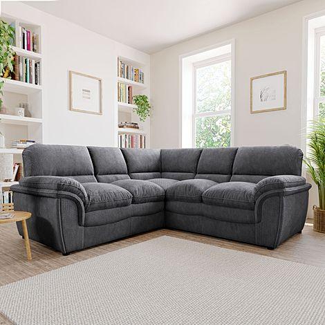 Rochester Dark Grey Dotted Cord Fabric Corner Sofa
