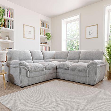 Rochester Light Grey Dotted Cord Fabric Corner Sofa