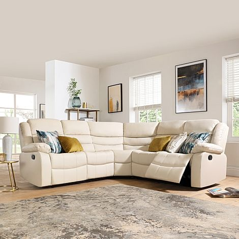 Sorrento Ivory Leather Recliner Corner Sofa