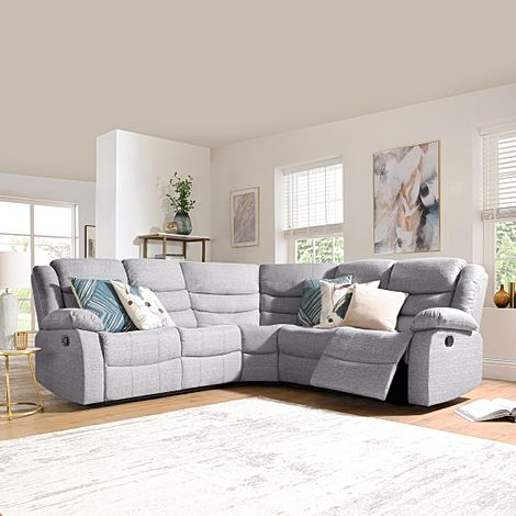 Sorrento Light Grey Fabric Recliner Corner Sofa