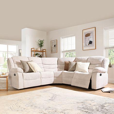Sorrento Natural Dotted Cord Fabric Recliner Corner Sofa